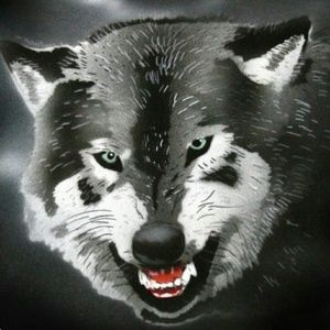 SNARLING WOLF Airbrushed T-shirt Custom Made